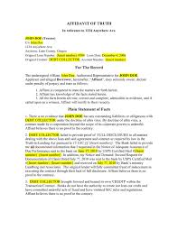 Affidavit Statement Of Facts Simple Affidavit Of Truth Template In Word And Pdf Formats