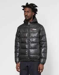 fila kensington anorak jacket. fila | owen hooded puffer jacket black lyst kensington anorak