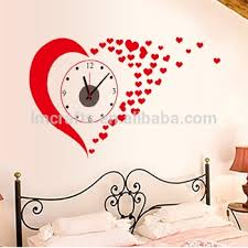Manufatory Supply Love 3D Clock Wall Stickers Wedding Decoration Paper Wall  Clocks Bedroom Marriage Room Home