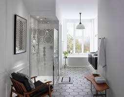 traditional bathroom lighting ideas white free standin. Memoirs Freestanding Bath Damask Vanity Traditional Round Rainhead This Galley-style Bathroom Opens To A Lighting Ideas White Free Standin U
