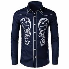 Mens Shirts With Embroidery Design Stylish Western Cowboy Shirt Men Brand Design Embroidery Slim Fit Casual Long Sleeve Shirts Mens Wedding Party Shirt Male 0724