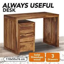 vidaXL <b>Solid Sheesham</b> Wood <b>Writing Table</b> Drawer Chest ...