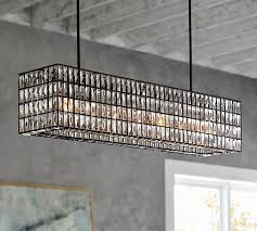 adeline crystal rectangular chandelier pottery barn regarding brilliant house rectangle crystal chandelier ideas