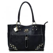 Coach Stud In Monogram Large Black Satchels BYC