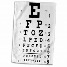 3d Rose Eye Chart Alphabet In Black Hand Sports Towel 15 X 22