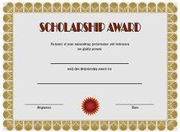 scholarship templates scholarship certificate templates best 10 templates