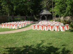 half chair covers for weddings owned and operated by adrienne Wedding Koozies Lafayette La outdoor garden wedding at magnolia court reception hall in lafayette, louisisna www magnoliacourt Personalized Wedding Koozies