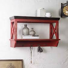 alonza solid wood distress red wall shelve with hooks