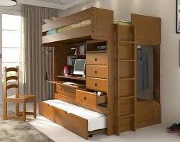 Solid Wood Full Size All in One Loft Bed with Built-In Storage, Desk, &  Shelves