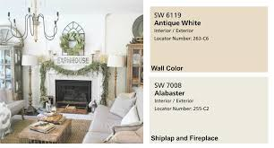 antique white paint for living room. farmhouse paint colors- living room with shiplap fireplace. full home color scheme at plumprettydeoranddesign antique white for o