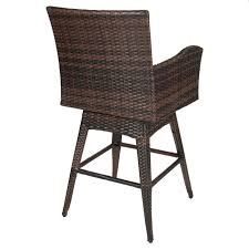 best choice s outdoor patio furniture all weather brown pe wicker swivel bar stool w cushion com