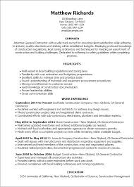 1 General Contractor Resume Templates Try Them Now Myperfectresume