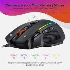 PICTEK PC278 oyun fare ergonomik kablosuz bilgisayar faresi oyun 8 düğmeler  programlanabilir fareler 8000 DPI RGB arkadan aydınlatmalı PC oyun  için|Mice