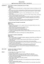 Inventory Controller Resumes Inventory Control Supervisor Resume Samples Velvet Jobs