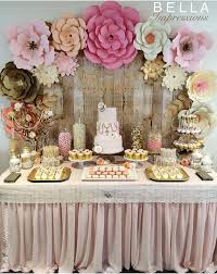 This would be such a cute Abby girl baby shower table . IG & Blush & Gold  Dessert table - paper flower backdrop - cakes - name sign - linen -  cupcakes ...