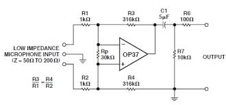 lownoise microphone amplifier circuit diagram using operational op37 low noise microphone preamp circuit design electronic project lownoise microphone amplifier circuit diagram using operational