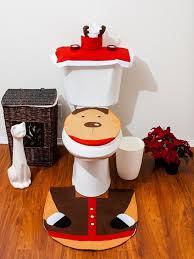 bathroom toilet cover and rug set santa reindeer