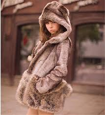 fashion faux fur hooded long sleeve coat little bear ears tail topwear faux rex rabbit fox fur coat for womens plus size wt20 womens faux fur outwear long