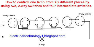 intermediate switch, its construction, operation and uses Multiple Lights One Switch Diagram a lamp is controlled from six different places by using two, 2 way and wiring multiple lights to one switch diagram