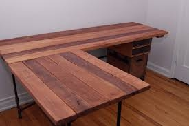 image of ideas reclaimed wood l shaped desk