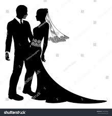 Illustration Bride Groom Wedding Couple Silhouette Stock Vector