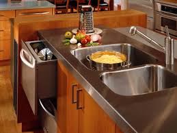 Stainless steel sinks and counters Metal Stainless Steel Sink And Countertop Brooks Custom Stainless Steel Countertops Hgtv