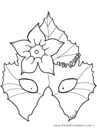 Small Picture Pumokin Leaf Mask Coloring Page