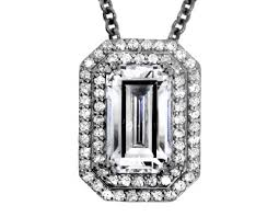 cartier style swarovski crystal cubic zirconia emerald cut halo pendant with chain in white gold plated