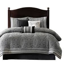 dark gray bedding set simple brown wooden bed with double