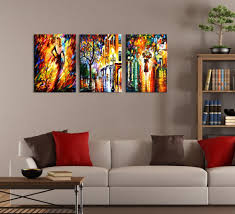 Abstract Night City Painting 3 Piece Wall Art With 3 Piece Abstract Wall Art  (Image