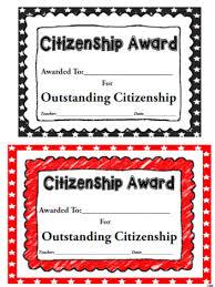 Citizenship Award Worksheets