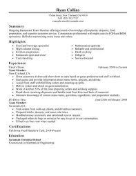 Best Restaurant Team Member Resume Example From Professional Resume