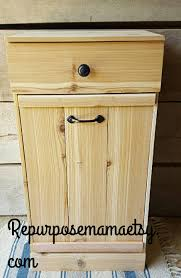 Decorative Kitchen Trash Cans Wood Trash Bin Etsy