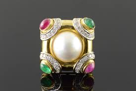 18k 4 50 ctw ruby emerald diamond 16mm pearl designer yellow gold pendant pin