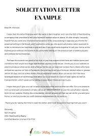 Solicitation Latter Professional Writing Letter Of Solicitation Sample Tips
