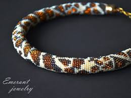 leopard bead crochet <b>necklace seed bead necklace</b> Bead crochet ...