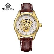 online buy whole engraved watch case from engraved watch orkinaseries leather strap golden case engraved skeleton auto mechancal wristwatch luxury