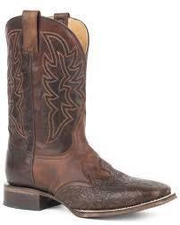 zoomed image roper men s jagger stamped tooled leather wingtip cowboy boots square toe brown hi