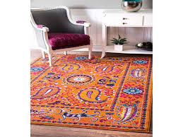 nuloom traditional vibrant paisley orange runner rug 2 8 x 8 from blue rug runners