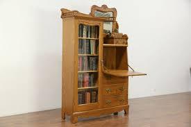 victorian carved oak antique 1900 side by side secretary desk bookcase