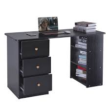 home office computer pc desk study table workstation 3 drawers 3 shelves black