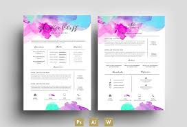 Colorful Resume Templates Fascinating Water Color Resume Template Psd Resume Templates On Colorful Resume