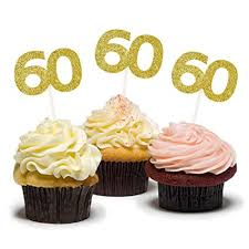 Amazoncom Hzonline Cupcake Cake Toppers 60th Birthday Golden