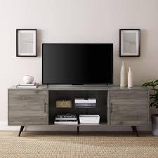 slate grey mid century modern 2 door console tv stand