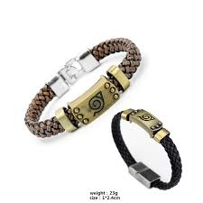 heyu hot anime naruto braid leather bracelets bangles akatsuki itachi konoha logo alloy bracelet wristband cosplay jewelry silver bangle bracelet charm bead
