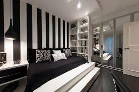 bedroom agreeable black and white striped wall design plus impressive black bed sofa idea also agreeable design mirrored closet