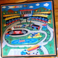 train track rug race track rug x about 3 square nylon pile no skid s race
