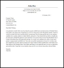 Example Of A Cover Letter For Nursing Professional Certified Nurse Aide Cover Letter Sample
