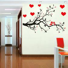 fashion red love heart wall decor vintage life tree sticker home romantic birds wallpaper free