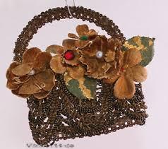 Details Zu Antiker Christbaumschmuck Korb Mit Blüten Brokat Stoff Wachs Und Glasperlen